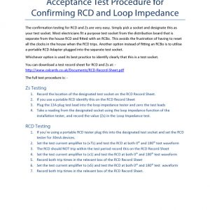 Instructions for RCD acceptance tests
